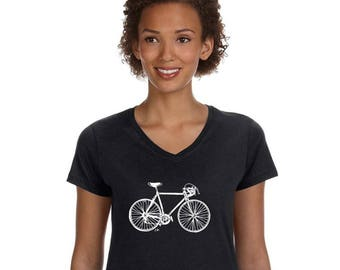 Bicycle Tshirts For Women, Ladies Cotton Vneck Shirt, Short Sleeved, Road Bike Shirt, Speed Bike Shirt, V Neck Graphic Tee, Gift for Cyclist