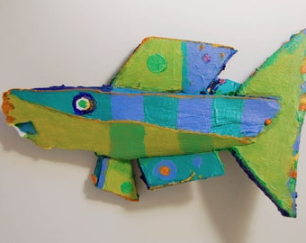 Small Recycled Painted Wood Fish Art Ready to Hang in any room for Fish Lovers, or anyone who loves Fun Art and Color