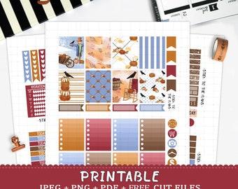 Fall printable planner stickers for Erin Condren LifePlannerTM silhouette cut files watercolor autumn weekly orange burgundy pumpkin crow