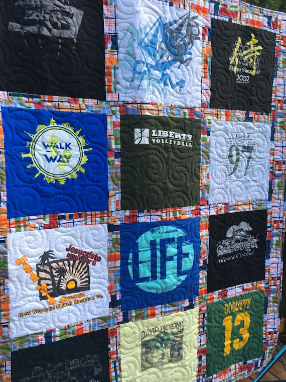 T- Shirt Quilt, 12 Shirts TShirt Quilt, DEPOSIT,  Upcycled Tees, Traditional Style with Sashing