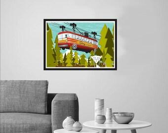"Pawlie n Ester in ""Skiway, No Way!"" Art Print by Tonya Newton Portland Mt Hood Oregon 1950s History Bus Transport"