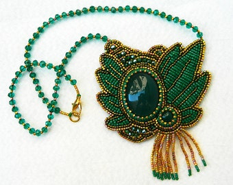 Bead embroidery statement necklace with large pendant green agate green necklace natural stone bead necklace evening jewelry