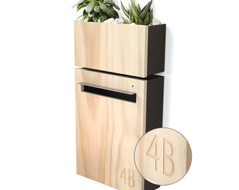 Modern Mailbox with Wall Planter - Charcoal Powder coated Body, Stainless Steel Visor and Hardware + Timber Front.