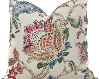 Multi color Jacobean Floral Decorative Pillow Cover 18x18, 20x20, 22x22, Euro sham or lumbar pillow Throw Pillow