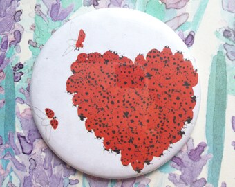Pocket mirror // Compact Make-up Mirror // Ladybug Heart // Valentine's Day