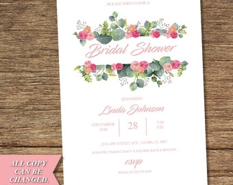 Victorian Flower Bridal Shower Invitation FLW-09-INV-BSI-Digital Download