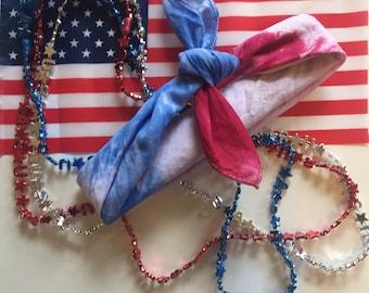 Patriotic Fourth of July Tie Dye Bandana