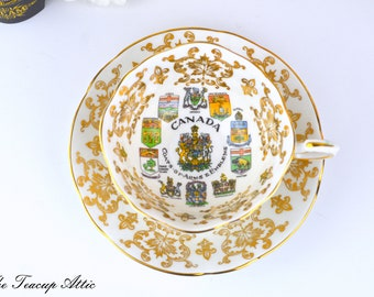 Paragon Canadian Provincial Emblems Teacup and Saucer Set, English Bone China, ca. 1953