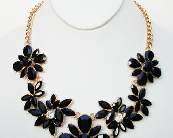 Black Flowers Gold Chain Necklace / Bib Necklace.