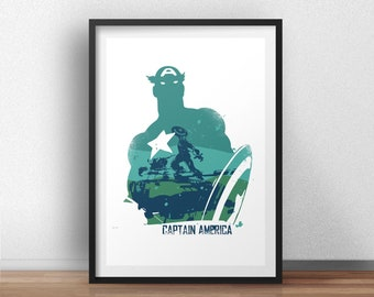 Captain america Poster Design - Superheroes geek Wall art print -  Available in different sizes. Check the drop-down menu for your choice