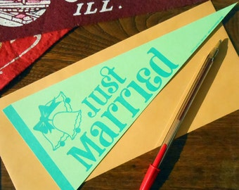 letterpress just married vintage pennant flat card lime & blueish green wedding card or decoration