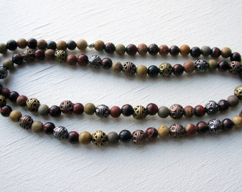 Earthy Beaded Necklace with Agate, Tiger's Eye, & Bali Metal Beads