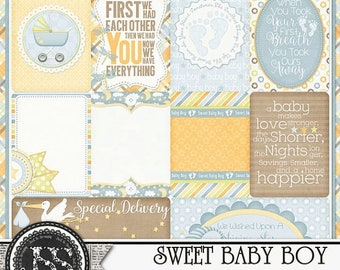 On Sale 50% Off Sweet Baby Boy Journal and Pocket Scrapbook Cards for Digital Scrapbooking and Paper Crafting