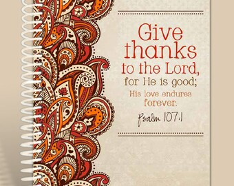 Paisley Give Thanks / Prayer Journal / Personalized Notebook /