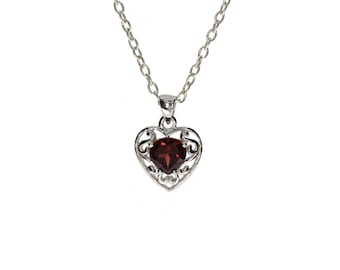 Garnet 925 Sterling Silver Heart Shaped Pendant For Women