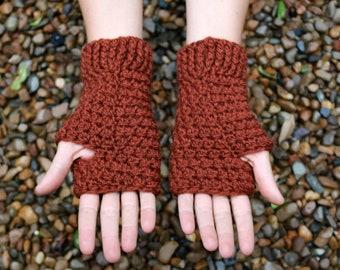 Fingerless pure wool gloves, brown cream beige custom colors, hand warmers, men and women, hobo gloves, crochet gloves, knitted gloves