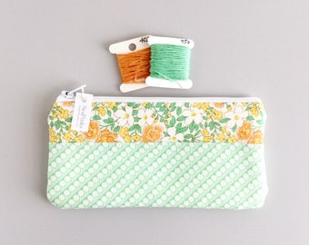 Green Change Purse Coin Purse Wallet Green Green and Orange Floral Zipper Pouch Back to School Students
