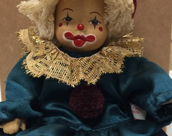 Collectible doll clown Vintage art doll Circus doll Decor joke figure Home decor figure Sad clown face is hand painted