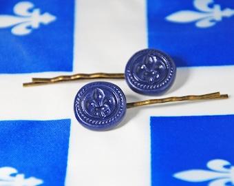 Hairclips, Fleur-de-lis, emblem of Quebec. Festival of Quebec, fête Nationale St-Jean-Baptiste. Barrettes Fleur-de-Lys. Polymer clay