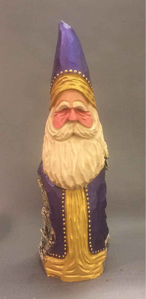 HAND CARVED original purple and gold Santa from 100 year old Cottonwood Bark.