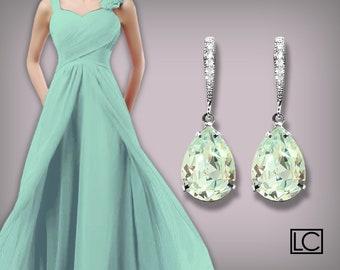 Light Azore Crystal Earrings, Swarovski Light Azore Silver Earrings, Duck Egg Teardrop Earrings, Ice Blue Earrings, Wedding Bridal Earrings