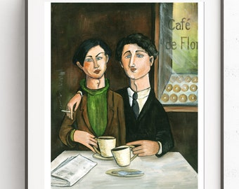 Two Gay Men in Paris Cafe' ~Digital Art~Printable Art~INSTANT DOWNLOAD
