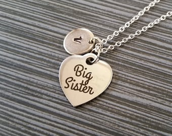 Silver Big Sister Necklace - Big Sis Necklace - Personalized Necklace - Custom Gift - Initial Necklace - Sister Gift - Stainless Steel Charm