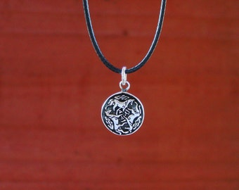 """Celtic Horse Pendant  with 18"""" adjustable black cord .925 Sterling Silver Equestrian Jewelry"""