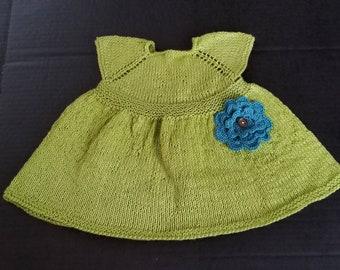 Baby Girl Dress, Infant Dress, Spring Dress, Dress with flowers, Lime Green Dress, Summer Dress, Baby Shower Gift, Hand Knitted Dress.