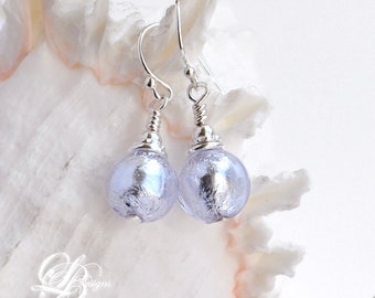 Lilac (Alessandrite) Venetian Murano Glass Earrings, Sterling Silver