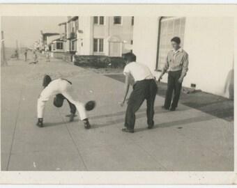 Vintage Snapshot Photo: Street Football, c1950s (69500)