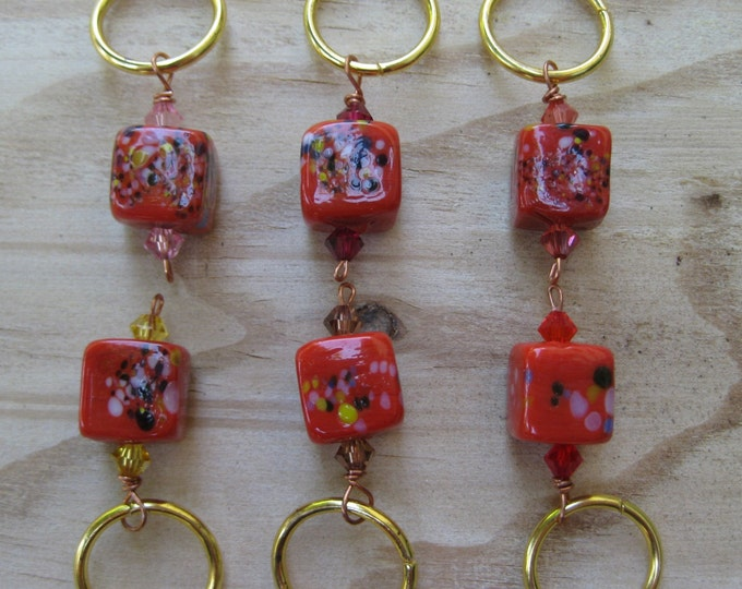 Woolpops Red Frit Stitch Markers