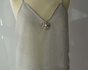 Silver shimmering ladies top