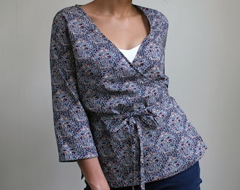 classic wrap shirt SEWING PATTERN with narrow waist ties and three quarter sleeves
