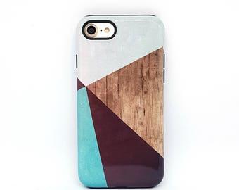 iPhone 7 case, iPhone 7 plus case, iPhone 6s, iPhone 6 case, iPhone 8 case, iPhone 5s case, phone case, iphone case - Geometric Wood