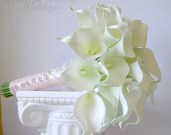 Brides bouquet, White calla lily bouquet, Wedding bouquet, Real touch flowers