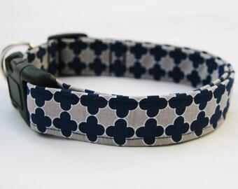 Quatrefoil Navy Blue Grey- Adjustable Dog- Pet Collar- Pet Supplies- Pet Accessories Dog Collar-