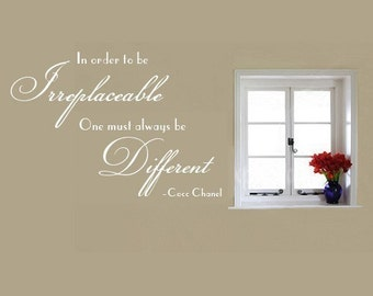 Wall Decal Coco Chanel In Order to be Irreplaceable One Must Always be Different   Vinyl Wall Quote