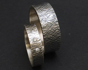 Custom Order Sterling Silver Wedding Bands, Silver Wedding Band Sets, Custom Wedding Rings in Silver With Texture and Stones Optional