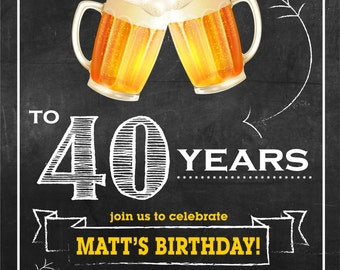 Cheers and Beers for 40 years birthday invitation