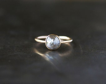 Rose Cut Diamond Ring, Unique Engagement Ring, Natural Color Grey Diamond, 14k Yellow Gold Engagement Band, Ecofriendly Conflict Free