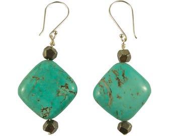 Turquoise Pyrite Gemstone Earrings