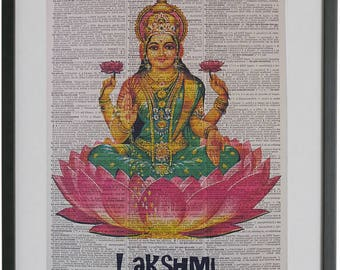 Lakshmi Print No.541, hindu goddess, pink lotus flower, lakshmi wall art, lakshmi painting, dictionary wall art, lakshmi illustration