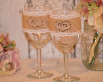 burlap wedding glasses, mr and mrs glasses bride and groom toasting flutes, rustic wedding