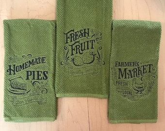 Embroidered Kitchen Towels, Farmers Market, Homemade Pies, Fresh Fruits, Housewarming Gift, Mother's Day