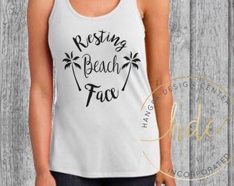 Womens Funny Shirt/Resting Beach Face Shirt/Funny Saying Shirt/Womens Funny Saying Shirt/Racer Back Tank Top(Black Font)