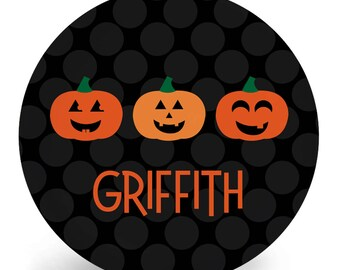 Personalized Halloween Plate for Kids - Child's Jack O Lantern Plate - Pumpkin - Child's Bowl - Melamine - Personalized with Name (Plastic)