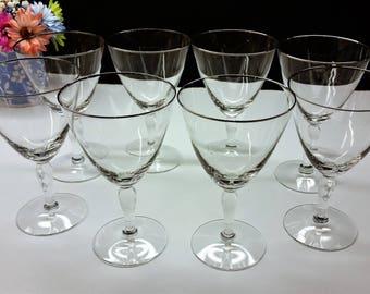 classic MIDCENTURY Platinum silver rimmed crystal wine goblets, set 8