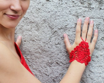 Red Crochet Lace Gloves, Fingerless, Hand jewelry, Gothic, Classic, Victorian, Sexy, Lolita, Yoga, Bracelet , Dance, Steampunk, Wedding