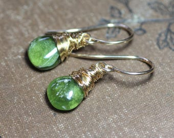 Green Vesuvianite Earrings Bright Green Gemstone Earrings Briolette 14k Gold Filled Wire Wrapped Earrings